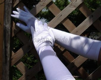 Bridal Gloves, stretchy white satin, Elbow length Gloves