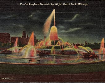 Chicago, Illinois, Grant Park, Buckingham Fountain - Vintage Postcard - Postcard - Unused (EE)