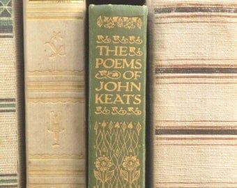 Antique book, 1900s poetry book The Poems of John Keats