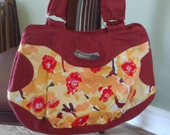 All purpose large bag, daily bag, rusty suede and red, yellow, orange design fabric