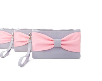 Sale-Bridesmaid clutches silver grey pink ,bow wristlet clutch,bridesmaid gift , clutch,set of 1,2,3,4,5,6,7,8,9,10,11,12,piece 9.90 USD