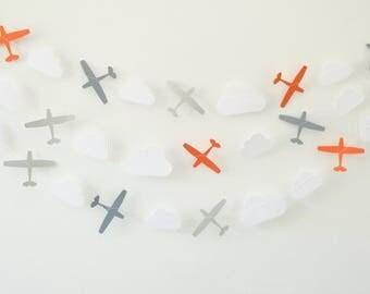 Paper Garland - Grey & Orange Airplanes, Cloud Garland, Party Garland, Paper Bunting, Photo Prop
