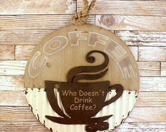 ON SALE But Coffee First - Coffee Bar - Coffee Rustic Sign - Fixer Upper Decor - Coffee Lover Gift - Housewarming Gift - Coffee Bar Sign - K