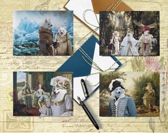 American Eskimo Art, American Eskimo Postcard Set, American Eskimo Greeting Card Set, American Eskimo Sticker, American Eskimo Vinyl Decal