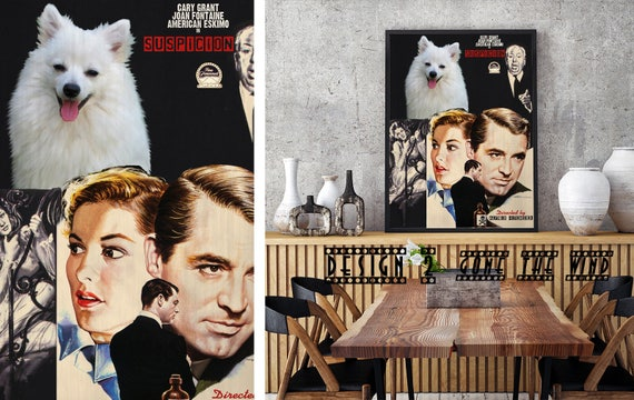 American Eskimo Dog Art Gift Suspicion Movie Poster custom dog portrait from photo best selling home decor vintage wall art Eskie Dog