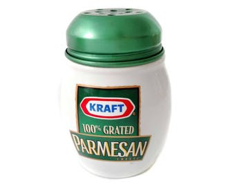 Kraft Parmesan Cheese Shaker Jar 100% Grated Cheese White Ceramic with Green Metal Lid Pasta Gift Cheese Lover