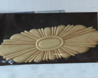 """Oval Wooden Decal Ornament, Wooden Sunburst Applique for Dressing up Plain Furniture , """"Artistic Appliques"""" Sealed in Package"""