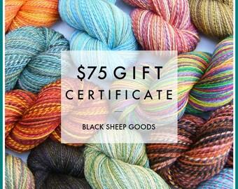 Gift Certificate - 75 Dollars - Handspun yarn gift certificate, gift for knitter, weaving yarn, Christmas gift for her