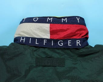 Vintage TOMMY HILFIGER Flag Collar Hooded Down Feather Lined Jacket LARGE Logo Patch Full Zip Green Blue Yellow 90's Color Block