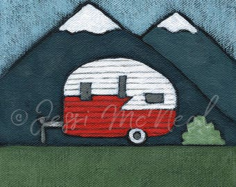 Happy Camper Print - Vintage Camper, Vintage Trailer, Vintage Style, Explore