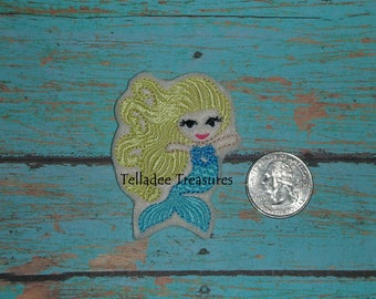 Mermaid Girl with flowing hair Feltie -Small cream felt - Great for Hair Bows, Reels, Clips and Crafts - Summer water fun - Blonde Fish