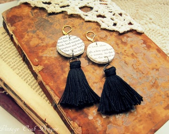 Book Page Tassel Earrings, Book Page Dangle Earrings, Vintage Paper Earrings,Book Earrings,Paper Tassel Earrings,Book Themed Wedding Jewelry