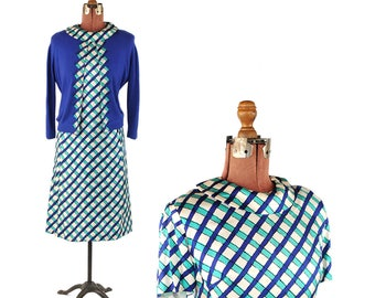 Vintage 1960's Frances Brewster Two Piece Blue Green Abstract Pattern Shift Dress + Cashmere Sweater Set M