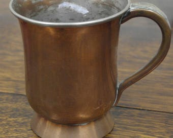 antique copper brass metal pint tankard oldham makers england