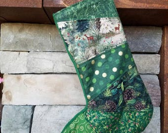 Green Christmas Stocking 2 OOAK Patchwork Christmas Stocking MADE to ORDER Green and Gold Christmas Stocking Quilted Stocking