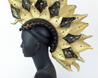 Mohawk Headdress Headpiece in Black and Gold