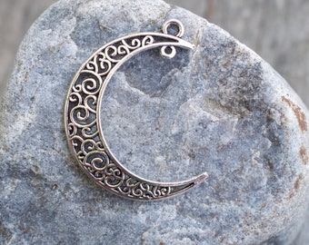 4 Silver Moon Pendants 38mm Crescent Moon with 2 Loops Filigree