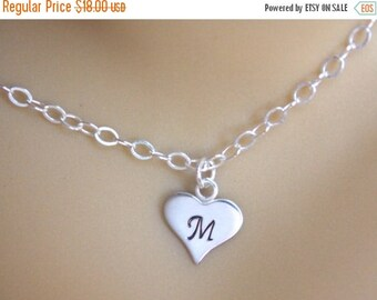 SALE Initial Heart Necklace, Personalized Necklace, Sterling Silver, Baby Shower, Heart Pendant, Heart Initial Necklace, Hand Stamped, Mom G