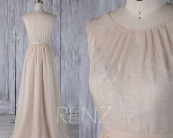 2017 Cream/Beige Chiffon Bridesmaid Dress, Keyhole Back Wedding Dress, Long Illusion Formal Dress,Scoop A Line Prom Dress Floor Length(H495)