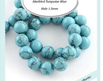 12mm Marbled Turquoise Blue Beads