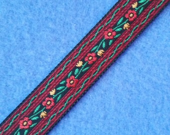 Vintage Red Floral Jacquard Ribbon, 5/8 inch ribbon by the yard, red yellow green black vintage ribbon