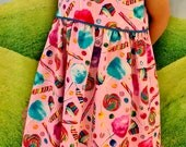 Girls Dress Size 4T and matching Man's Tie - Pink Cotton Candy Fabric
