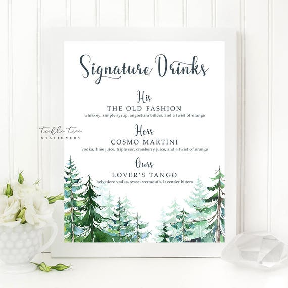 Signature Drinks Sign Art Print - Rustic Forest