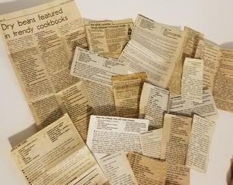 15 vintage recipe newspaper clippings old recipes ephemera lot words text art scrap paper supplies D 1x
