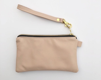 Ready to ship! Blush leather coin purse WITH wriststrap