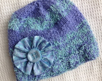 Aqua and Perriwinkle Handknit Cotton Hat for Adult, or Older Child, with Flower Pin