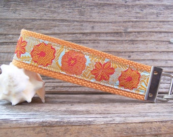 Bright  orange ribbon flower fabric  key fob , key fob , key ring , wrist strap for keys or bag,