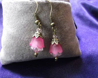 Pink Lucite & Crystal Flower Earrings with Bronze Wires