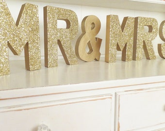 "Gold ""MR & MRS"" Wedding Free Sanding Sign ~ 8"" Gold Glitter ~ Photo Prop ~ Sweetheart Table Decor ~ Bridal Shower"