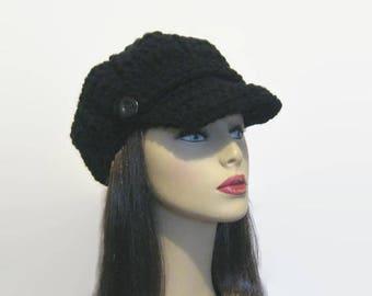 Black Newsboy Hat Crochet Newsboy Black knit Hat with Visor Black Newsboy Hat Crochet Visor Cap Black Cap with Visor and Button News Boy Hat