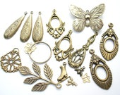 DeStash Lot of Antiqued Brass Charms, Drops and Dangles