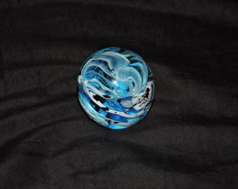 Vtg Blue White Swirl Glass Paperweight Ocean Wave Sphere 2 in Paper Weight