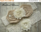 SALE MANY COLORS Bridal Garter Set - Keepsake Toss Garters - Burlap Flower Ivory Lace Garters - Rustic Country Wedding - Cream Lace Garder