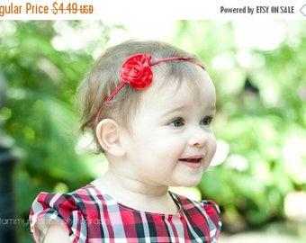 SALE Precious Red Satin Petite Flower on Skinny Elastic Headband - Newborn Baby Toddler Girl - Photo Prop - Satin Ribbon - Patriotic
