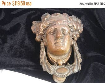 On Sale ANTIQUE Large VICTORIAN LADY Door Knocker - Late 1800's Early 1900's - Heavy Bronze Home Hardware Restoration