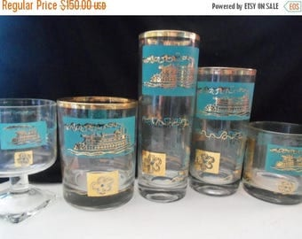 Now On Sale Vintage Aqua Steamboat Glasses Set of 37 Mid Century Modern Home Decor Dinnerware Tableware 1960's Rare Find