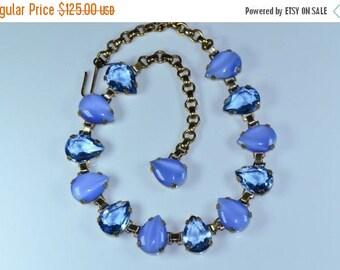 Now On Sale Vintage Rhinestone Necklace * 1930's Blue Rhinestone Jewelry * Old Hollywood Glamour * Art Deco Jewelry * Retro Rockabilly Colle