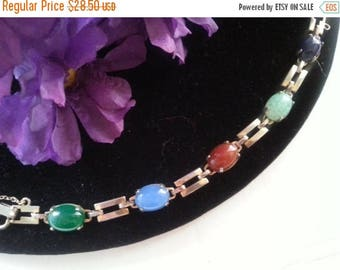 Now On Sale Glass Stone Bracelet, 1960's 1970's Vintage Jewelry, Colorful Vintage Bracelet