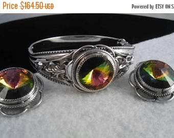 Now On Sale Stunning Watermelon Rhinestone Iridescent Glow Bracelet Earring Set ** Signed Whiting & Davis ** 1950s Hollywood Regency Mad Men