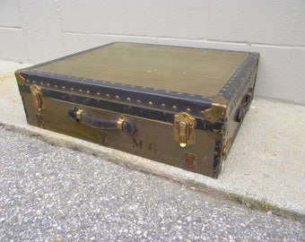 Vintage Military Mobile Field Desk Suitcase Storage Trunk Case   All  Original   Command Post