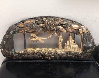 Antique/Vintage Art Nouveau Decorative Brass and Wood/Resin NYC Cityscape