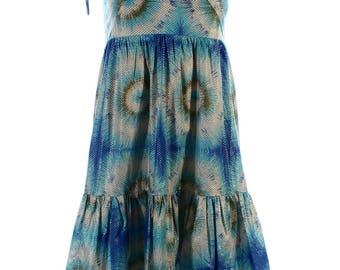 Vintage 90s Blue Gold Polka Dot Retro Mini Hippy Print Festival Dress UK 4 US 2