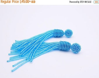 ON SALE Lustered light BLUE beaded tassel Earrings with Clip on or sterling Silver stud / Choose your length / high quality handmade jewelry