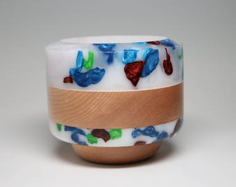 Handcrafted Wooden Bowl Turned with White & Blue Tinted Resin(s) Top an Inlay Painting Housewarming Wedding Gift Collectible Resin Art