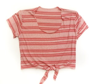 70's Inspired Red Stripe Tie Crop Top Made to Order from reclaimed fabric