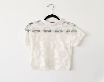 Cream Daisy Mesh 90s Inspired Crop Top made to order Deadstock Fabric Tumblr Fashion